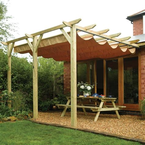 ft retractable post wall mounted wooden garden pergola canopy