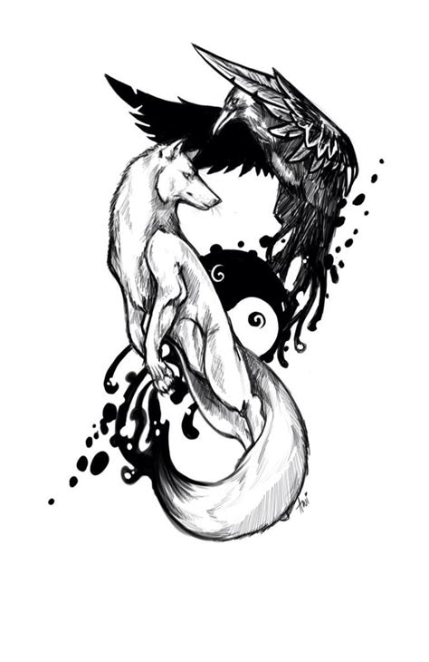 wolf  raven yin  raven tattoo tattoo drawings
