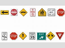 Various Traffic Signs Moving In A Border Stock Footage