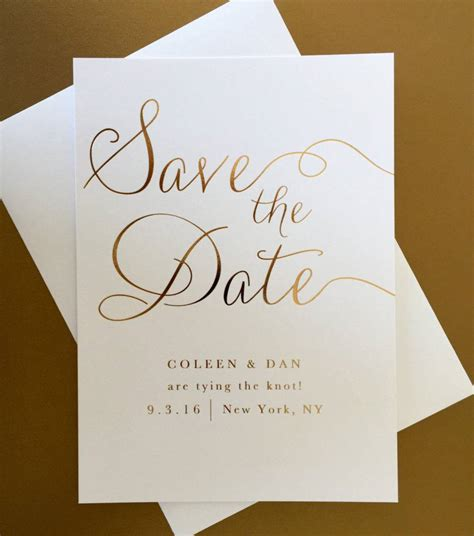 gold foil wedding save the date example