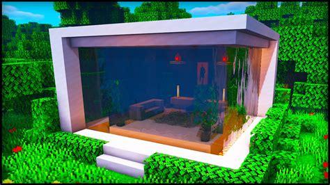 minecraft waterfall modern house   build  cool modern house tutorial youtube