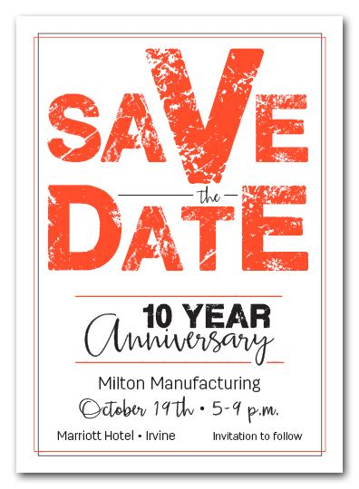 edgy orange business event save  date cards