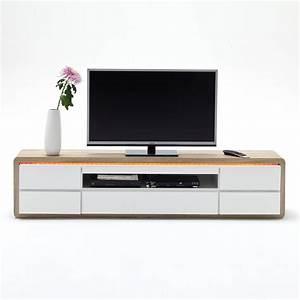 Tv Board Weiß Eiche : tv element frame lowboard wei hochglanz lack sonoma eiche s gerau led ebay ~ Buech-reservation.com Haus und Dekorationen