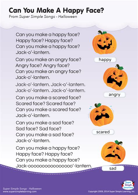 Can You Make A Happy Face? Lyrics Poster  Super Simple