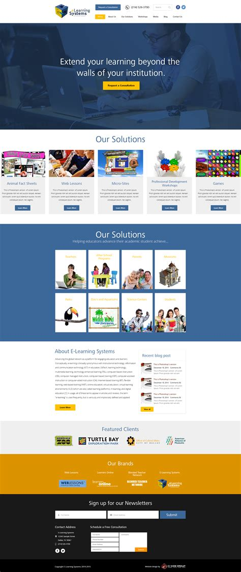education web design  learning systems lms website