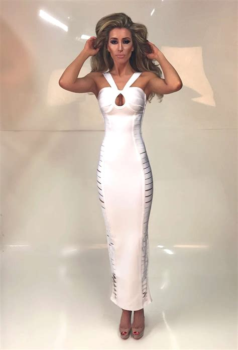 angela white cut  ankle length bandage dress