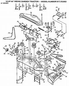 917 255960 Craftsman 18 Hp 44 Inch Mower 6 Speed Garden