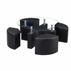 Table Basse Avec Pouf Pas Cher : table basse ronde noire pas cher le bois chez vous ~ Teatrodelosmanantiales.com Idées de Décoration