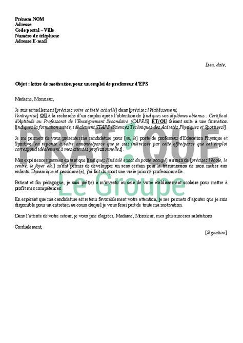 lettre de motivation pour devenir professeur d 233 ducation physique et sportive pratique fr