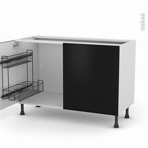 Meuble De Cuisine Noir : meuble de cuisine sous vier ginko noir 2 portes lessiviel l120 x h70 x p58 cm oskab ~ Teatrodelosmanantiales.com Idées de Décoration