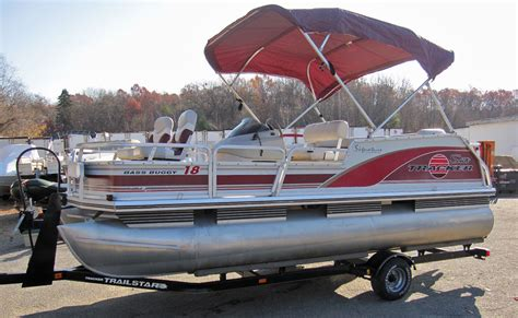 Used Pontoon Boats Bass Tracker by Tracker Bass Buggy Fishing Pontoon Boat W 40hp Mercury