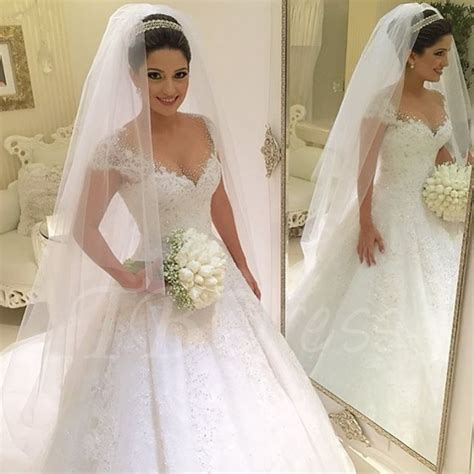 brautkleider princess beading lace gown princess wedding dress tbdress