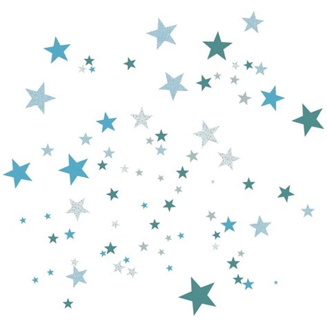 chambre mur bleu sticker mural étoiles bleues