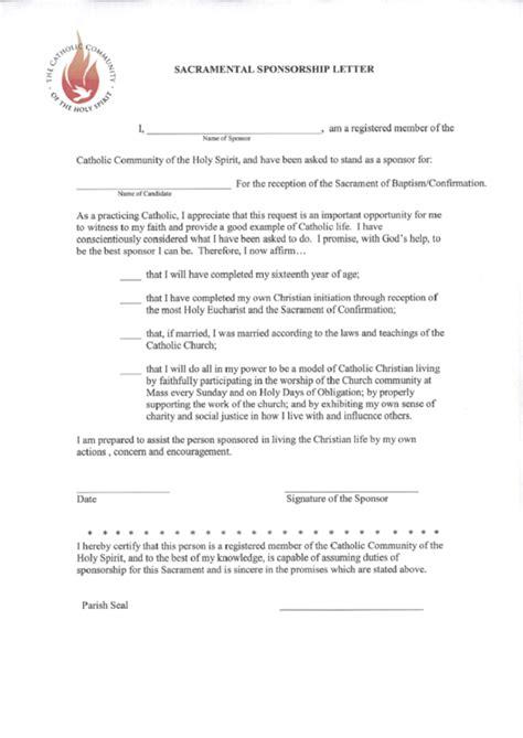 sacramental sponsorship letter template printable
