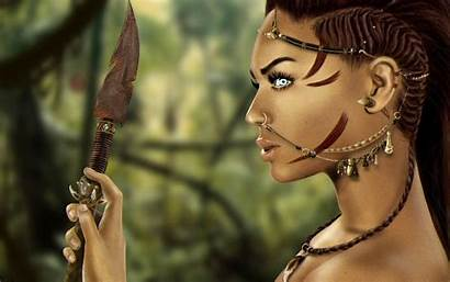 Warrior Fantasy Background Woman Warriors Wallpapers Spear