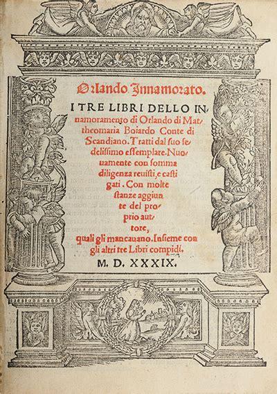 boiardo orlando innamorato libri autografi  stampe asta  minerva auctions