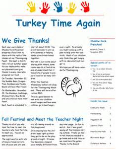 Preschool November Newsletter Ideas