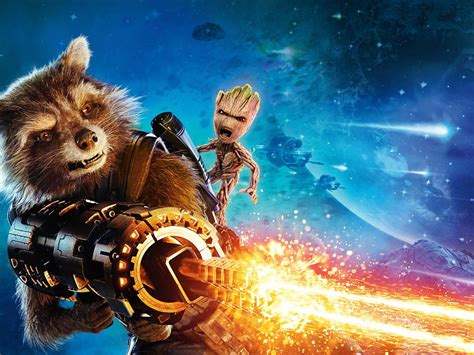1024x768 Baby Groot And Rocket Raccoon Guardians Of The