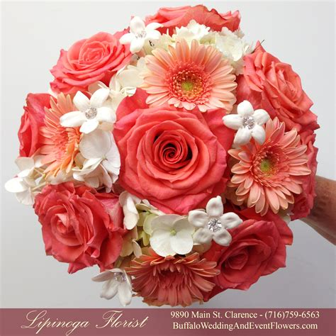coral colored wedding centerpieces coral wedding flowers buffalo wedding event flowers by
