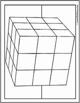 Coloring 3d Cube Pages Shape 3x3 Square Squares Circles Colorwithfuzzy sketch template
