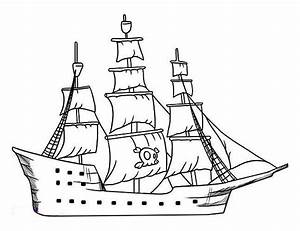 Drawn sailing ship pirate boat - Pencil and in color drawn ...