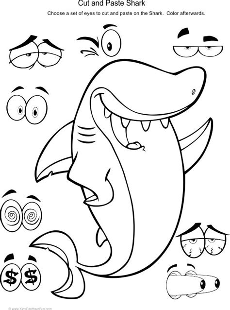 83 best cut and paste worksheets activities for preschool 148   b489c59694190fac8120a5a801101912 kids cuts the shark