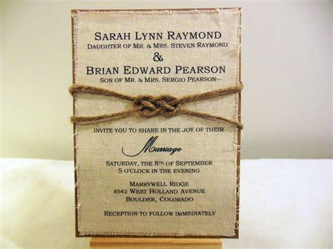 diy rustic burlap fabric wedding invitation kit by