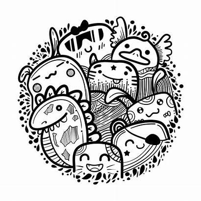 Doodles Monster Circle Vector Monsters Vectors Graphics