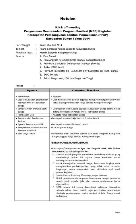Contoh Format Risalah Rapat by Notulen Rapat Kick Meeting