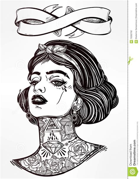 Coloring Vector by Coloring Vector Of Tattooed Stock Vector