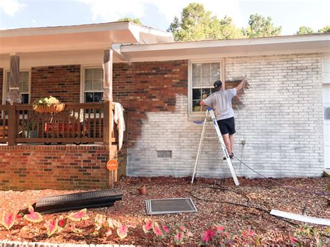Always clean brick well before painting (just water works great), allow 24 hours to dry. Limewash Brick Exterior Makeover