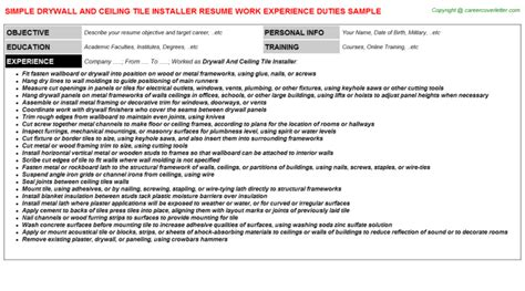 Tile Installer Resume Template by Drywall And Ceiling Tile Installer Description