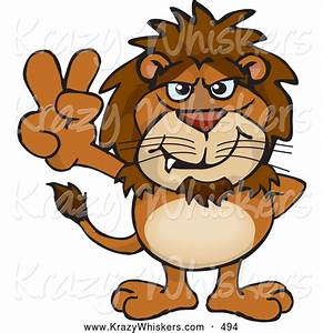 Critter Clipart of a Cute Peaceful Lion Smiling and ...