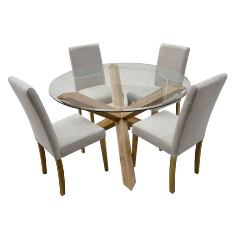 glass table with 4 chairs hton oak 120cm round glass dining table with 4 chairs