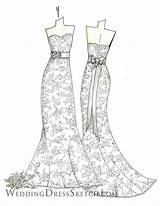 Coloring Pages Printable Sketch Floral Gown Adults Bride Dresses Colouring Trumpet Ribbon Custom Bridal Dolls Paper Cool Anniversary Adult Getdrawings sketch template