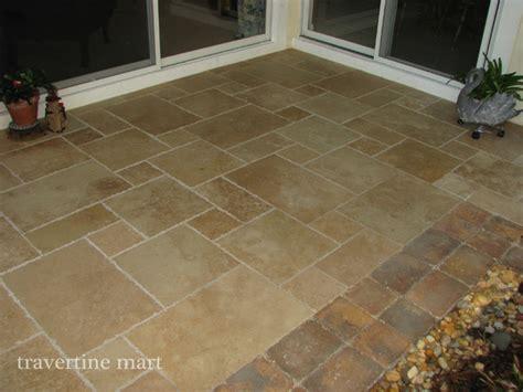 walnut brushed chiseled travertine tile patio flooring