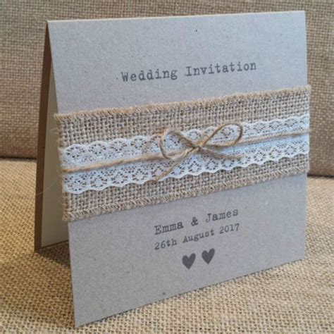 VINTAGE STYLE WEDDING INVITATION with Hessian Lace Rustic