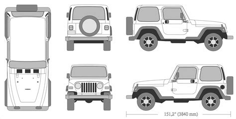 4 door jeep drawing jeep wrangler 1995 blueprint download free blueprint for