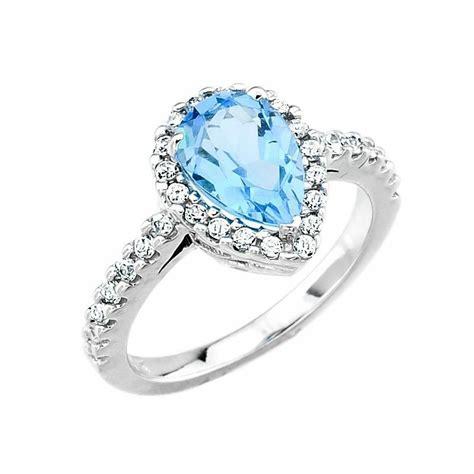 14k white gold blue topaz december birthstone engagement ring usa made ebay