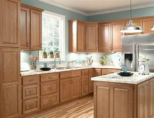 furniture durable oak kitchen cabinets honey intended for With kitchen cabinets lowes with french cafe canvas wall art