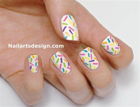 Nail Art Tutorial : Rainbow Nail Art Tutorial And Rainbow Sprinkles Nails