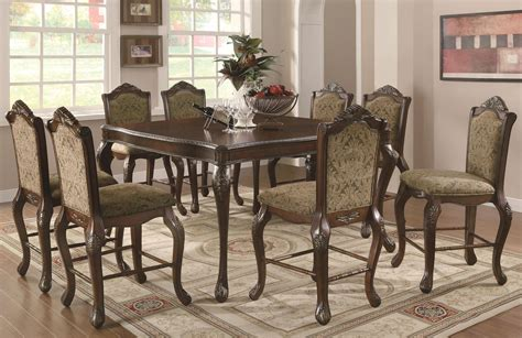 cherry wood pub table set coaster andrea 103118 103119 brown wood pub table set in