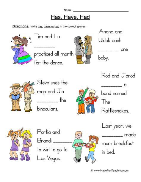 verb worksheets page     fun teaching