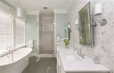 White Spa Bathroom by White And Blue Spa Like Bathroom With Gray Wood Like Floor