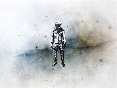 Wallpapers Astronaut Backgrounds Desktop Cool Alone Drawing