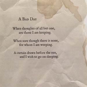 bad day poem | Tumblr