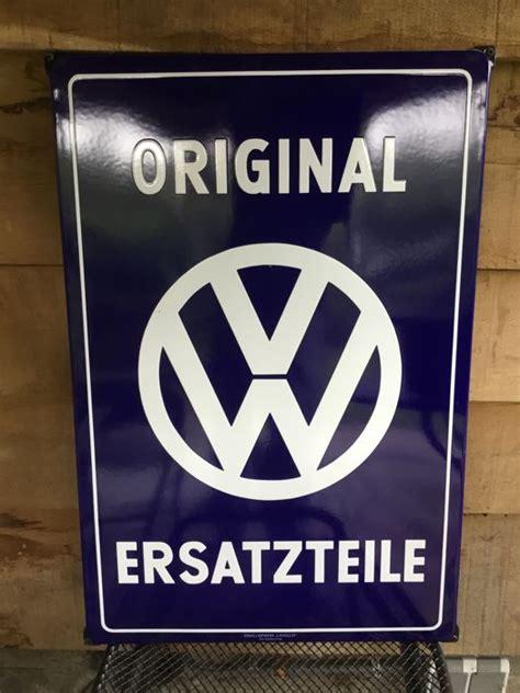 Vw Volkswagen Enamel Porcelain Dealer Sign Vw Original Ersatzteile 51 X 77 Cm
