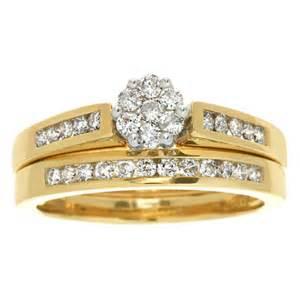 flower wedding ring set engagement ring 1 ct t w flower bridal set in 10k gold wedding fashion