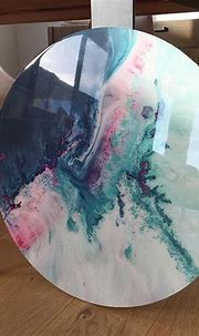 600mm canvas circle print with resin finish // CORAL REEF ...