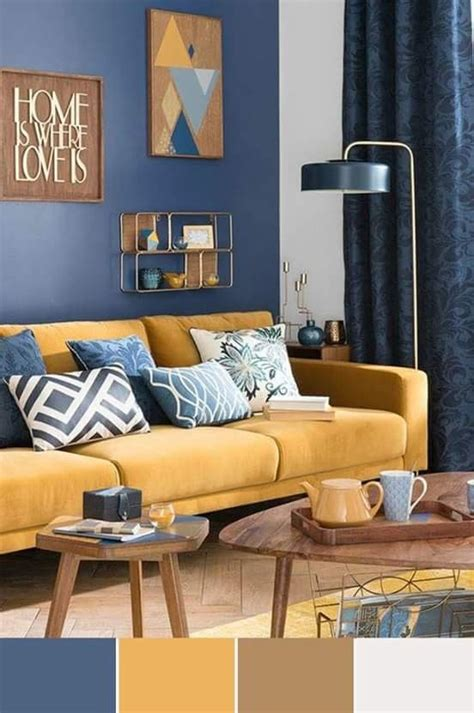 living room color trend combines with blue yellow and